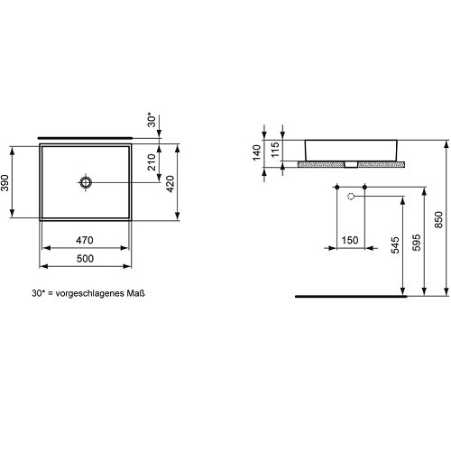 Lavoar Ideal Standard Strada 50x42cm, fara orificiu baterie, fara preaplin, montare pe blat [1]