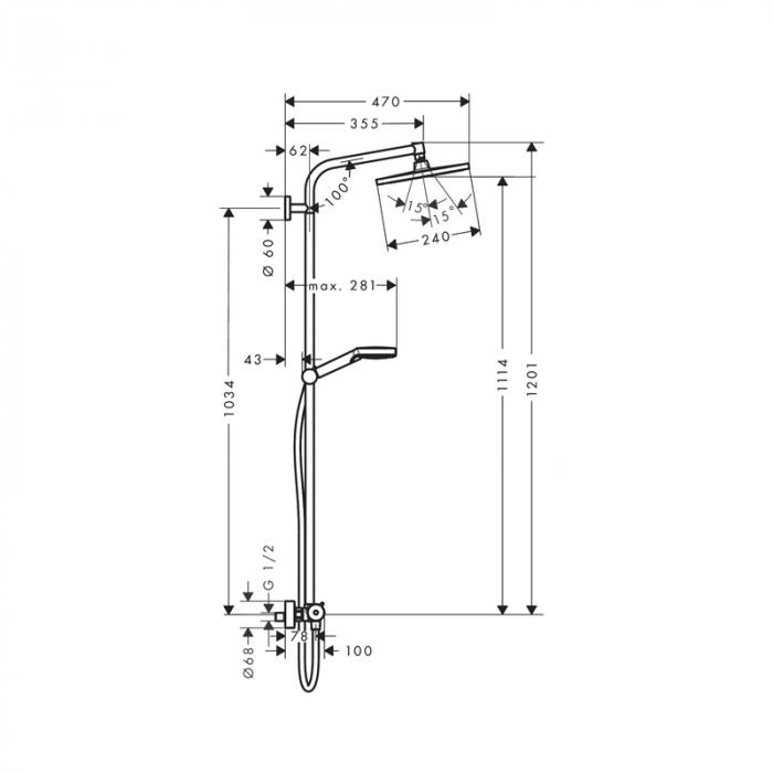 Coloana dus termostatata Hansgrohe, Crometta E 240, cu cap dus fix si mobil 1S [2]