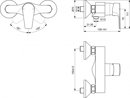 Baterie dus Ideal Standard Cerafine D, crom [1]