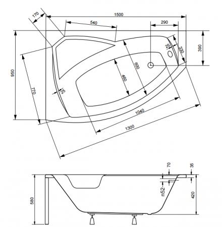 Cada baie asimetrica Besco Rima 150x95cm, acril, orientare stanga [3]