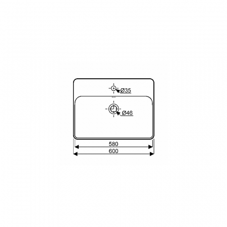 Lavoar pe blat Geberit Variform dreptunghiular cu preaplin 60x45 cm [1]