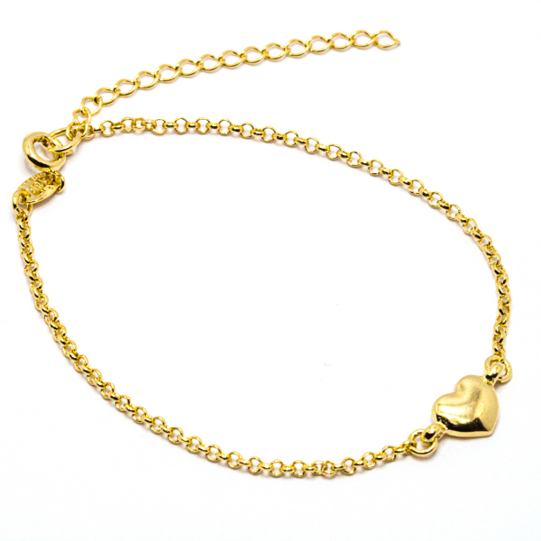 Bratara cu inimioara placata cu aur Island 18-23 cm 0