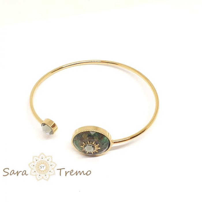 Bratara cu piatra naturala Turcoaz African si cristal Black Diamond [1]