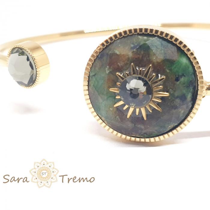 Bratara cu piatra naturala Turcoaz African si cristal Black Diamond [2]