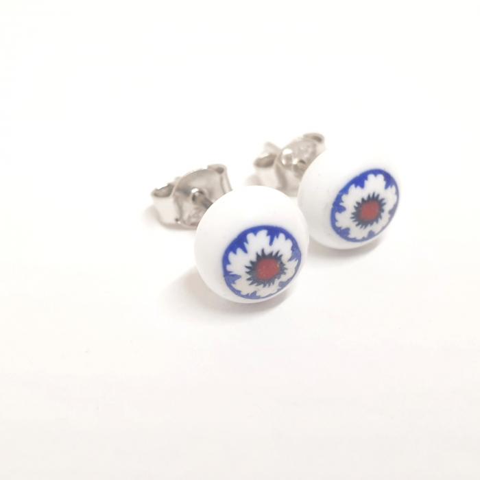 Cercei mici din sticla de Murano cu montura in argint Venezzia [3]