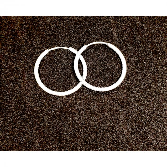 Cercei rotunzi din argint 2.3 cm Fraction 2