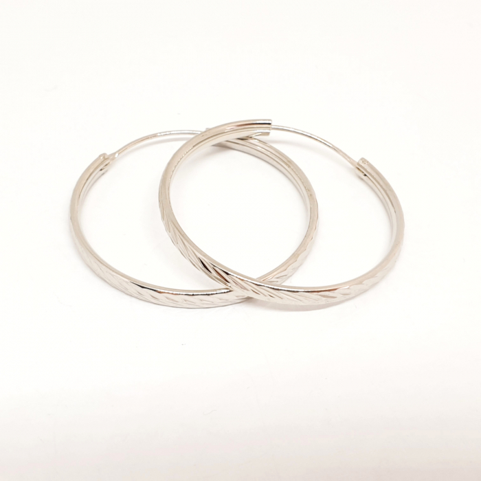Cercei rotunzi din argint 3.2 cm Lygia 0