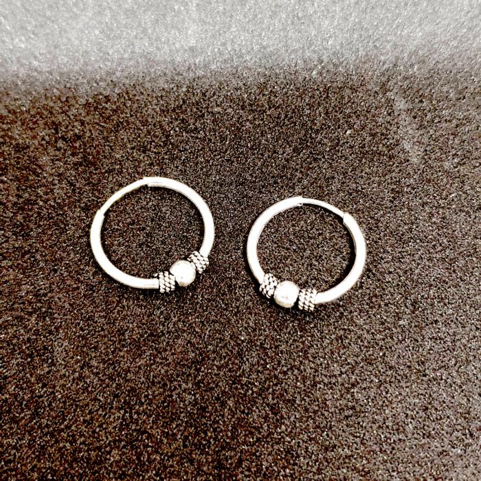 Cercei rotunzi din argint pentru botez 1.5 cm Precious Silver 2