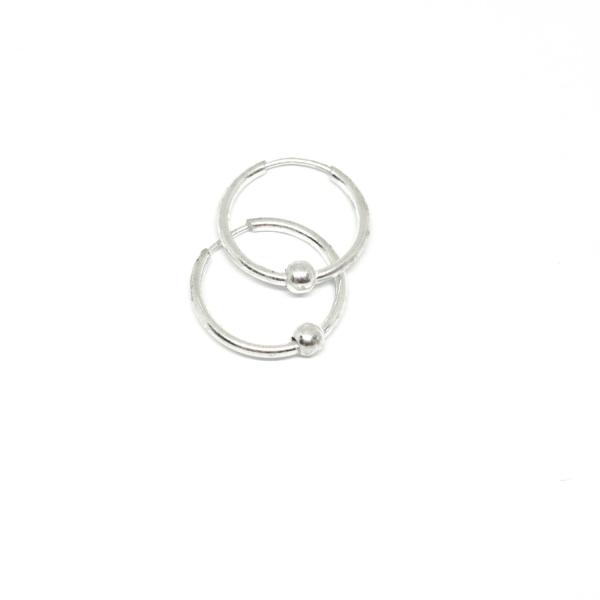 Cercei rotunzi din argint pentru botez 1.3 cm Q-ty 0