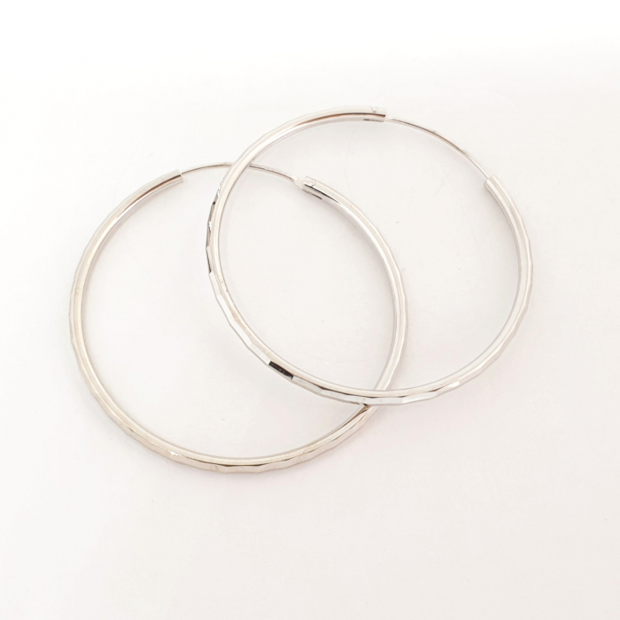 Cercei rotunzi din argint 4.2 cm Cybil 1