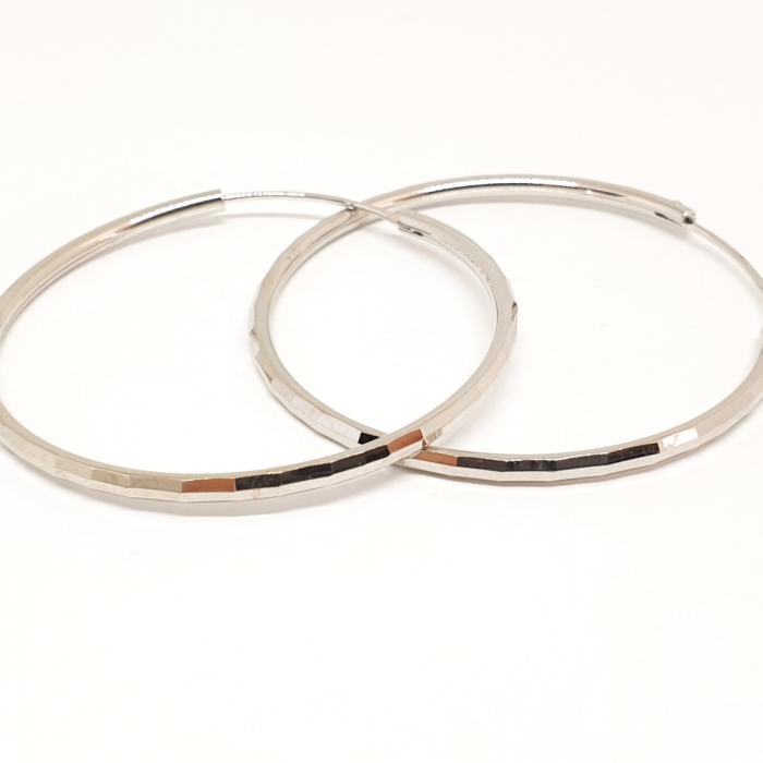 Cercei rotunzi din argint 4.2 cm Cybil 5