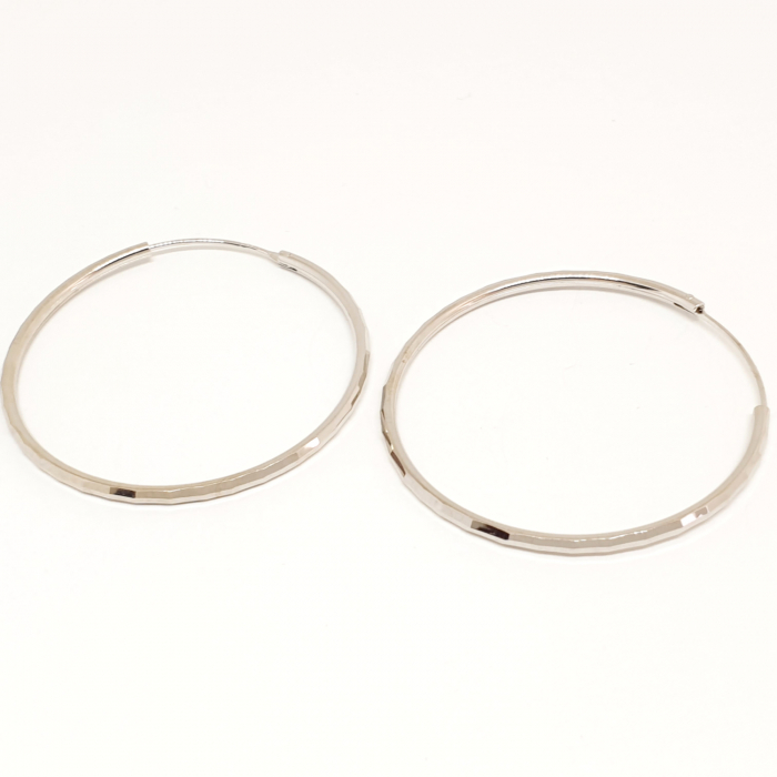 Cercei rotunzi din argint 4.2 cm Cybil 4