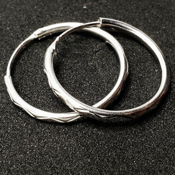 Creole 2.3 cm Silver din argint rodiat edenboutique imagine 2021