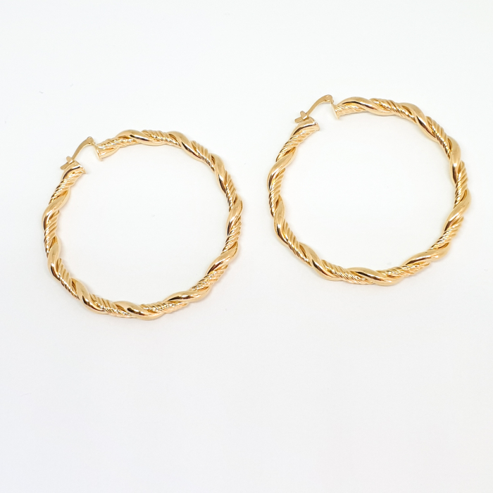 Creole luxury 4.7 cm impletite placate cu aur Golden Waterfall [4]