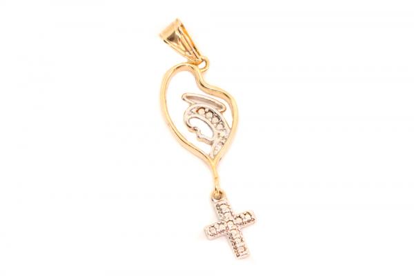 Cruciulita placata cu aur cu iconita model complex Monk 0