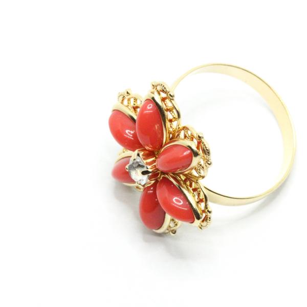 Inel cu floare mare pentru femei placat cu aur Yearn 2