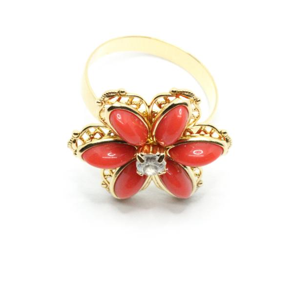 Inel cu floare mare pentru femei placat cu aur Yearn 1