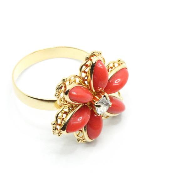 Inel cu floare mare pentru femei placat cu aur Yearn 0