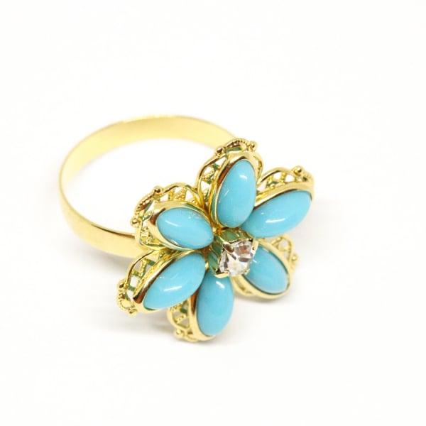 Inel cu floare mare pentru femei placat cu aur Brink 2