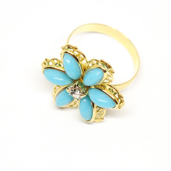 Inel cu floare mare pentru femei placat cu aur Brink 1
