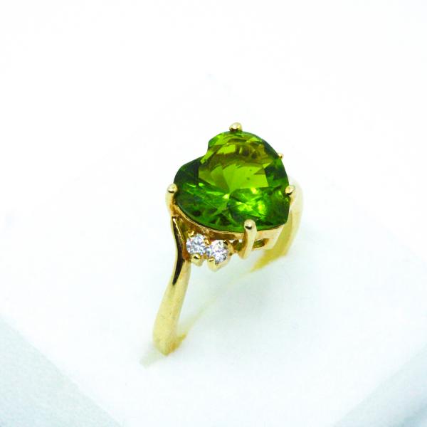Inel cu piatra in forma de inima placat cu aur Exception 3