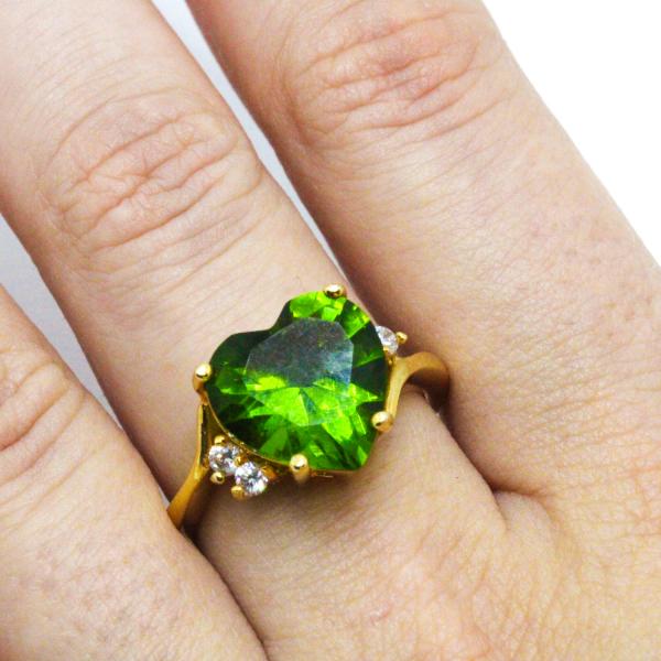Inel cu piatra in forma de inima placat cu aur Exception [4]