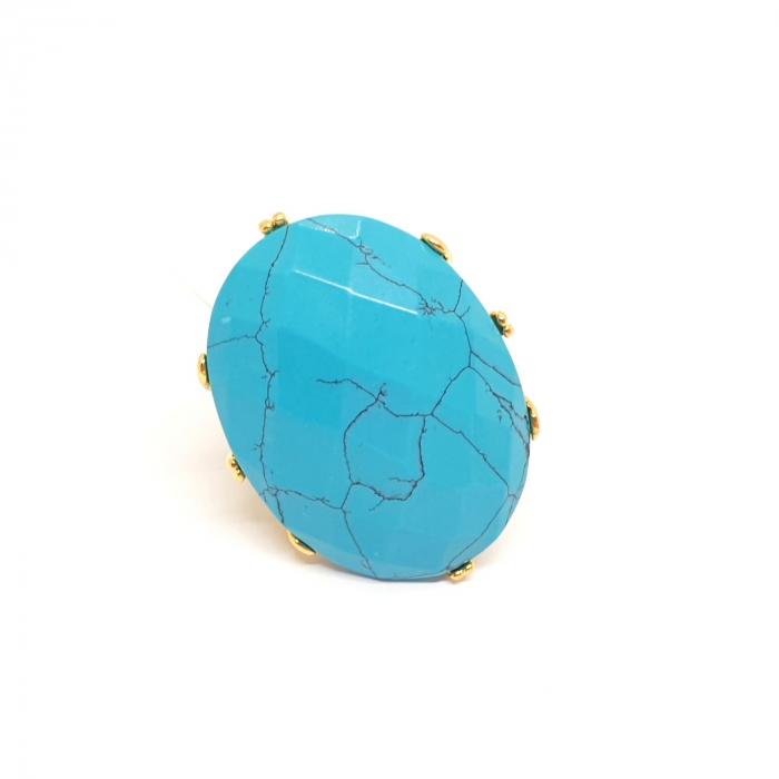 Inel cu piatra mare placat cu aur Turquoise Blue [1]