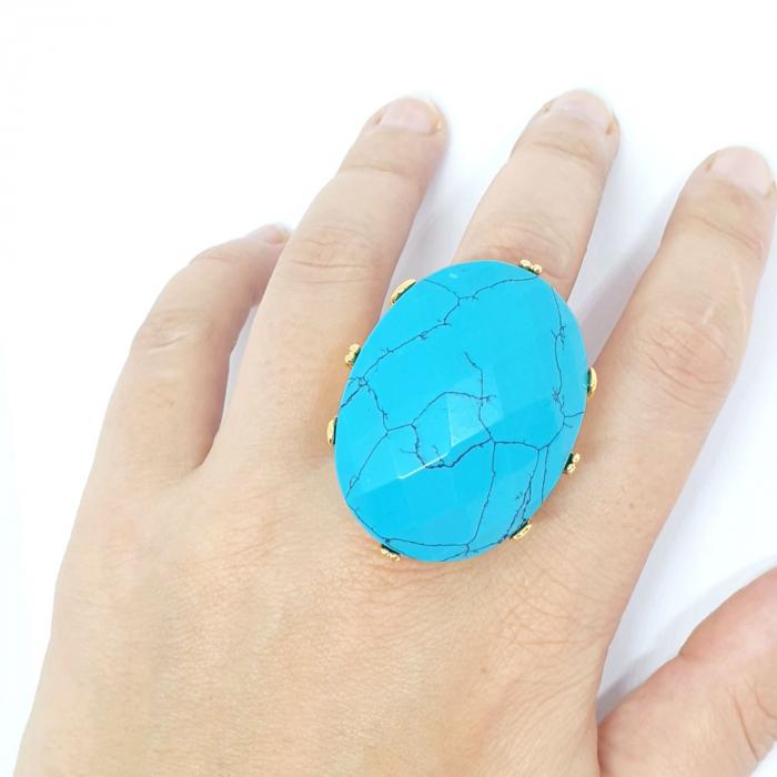 Inel cu piatra mare placat cu aur Turquoise Blue [0]