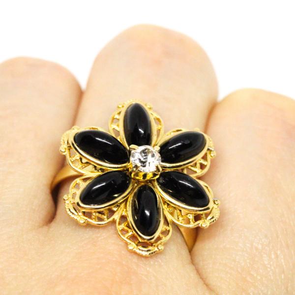 Inel cu floare mare pentru femei placat cu aur Strategy 4