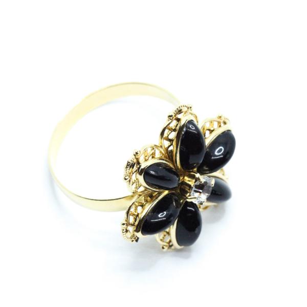 Inel cu floare mare pentru femei placat cu aur Strategy 0