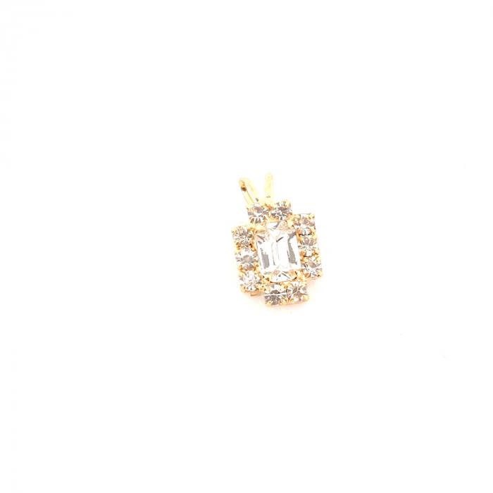 Pandantiv cu cristal zirconia placat cu aur Praddas 0