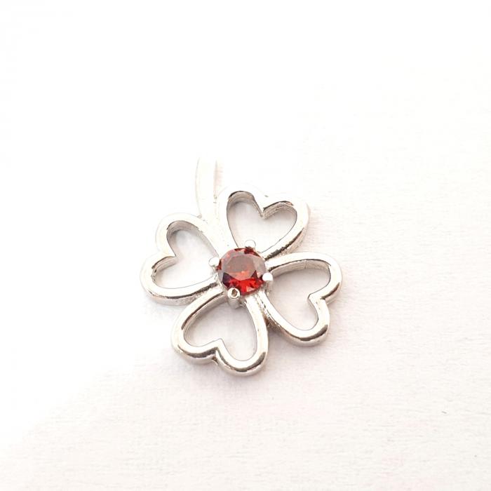 Pandantiv din argint rodiat Red Flower 0