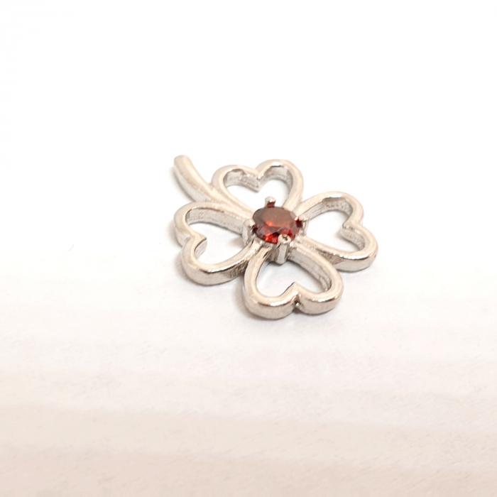 Pandantiv din argint rodiat Red Flower 1