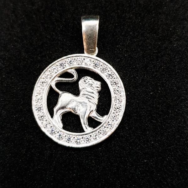 Pandantiv din argint cu zodia Leu 0