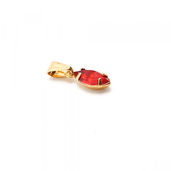 Pandantiv oval rosu placat cu aur SaraTremo 1
