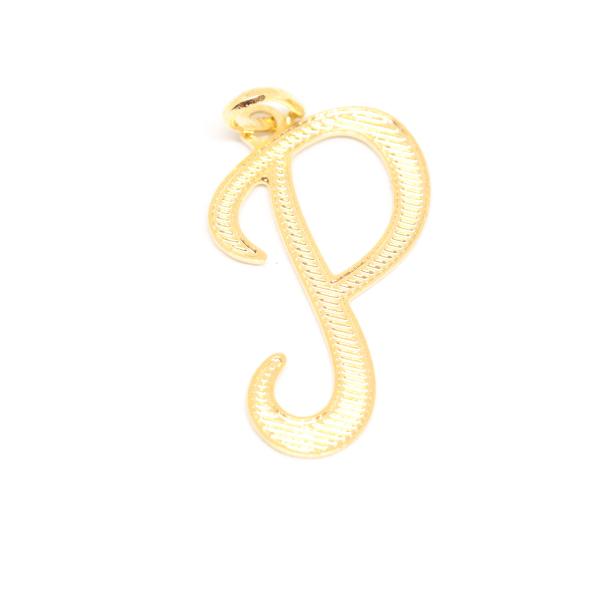 Pandantiv stilizat placat cu aur litera P 0