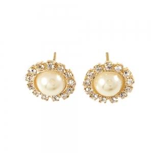 Cercei cu perla placati cu aur Rock & Shine1