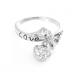 Inel cu charm placat cu aur alb Love You1