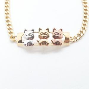Bratara pentru copii placata cu aur Cats1