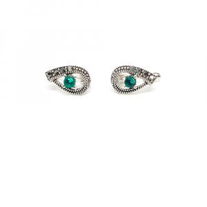 Cercei din argint Green Eyes1