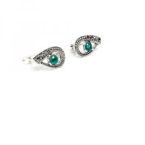 Cercei din argint Green Eyes2
