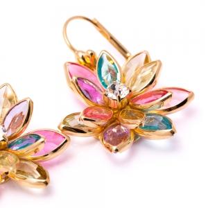 Cercei placati cu aur Flowerz1