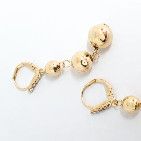 Cercei lungi 5 cm placati cu aur Pops2