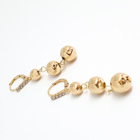 Cercei lungi 5 cm placati cu aur Pops1