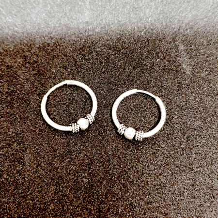 Cercei rotunzi din argint pentru botez 1.5 cm Precious Silver2