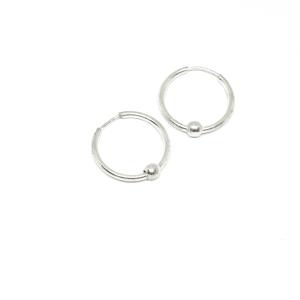 Cercei rotunzi din argint pentru botez 1.3 cm Q-ty1