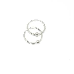 Cercei rotunzi din argint pentru botez 1.3 cm Q-ty0
