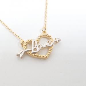 Colier cu inimioara placat cu aur 52 cm Cheeky2