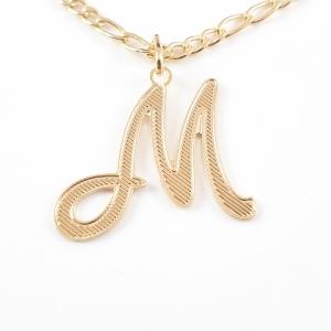 Colier personalizat placat cu aur Litera M0