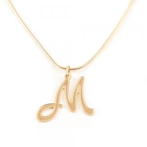 Colier personalizat placat cu aur Litera M1